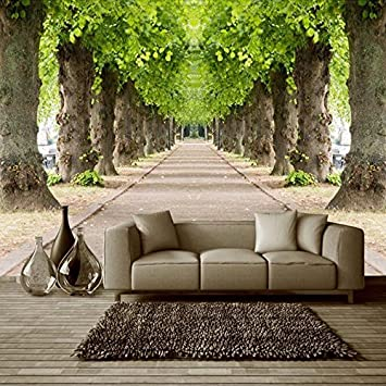 Kayra Decor Vinyl Mural Forest Road 3d Wallpaper 5 X 7 Ft Multicolour Amazon In Home Improvement