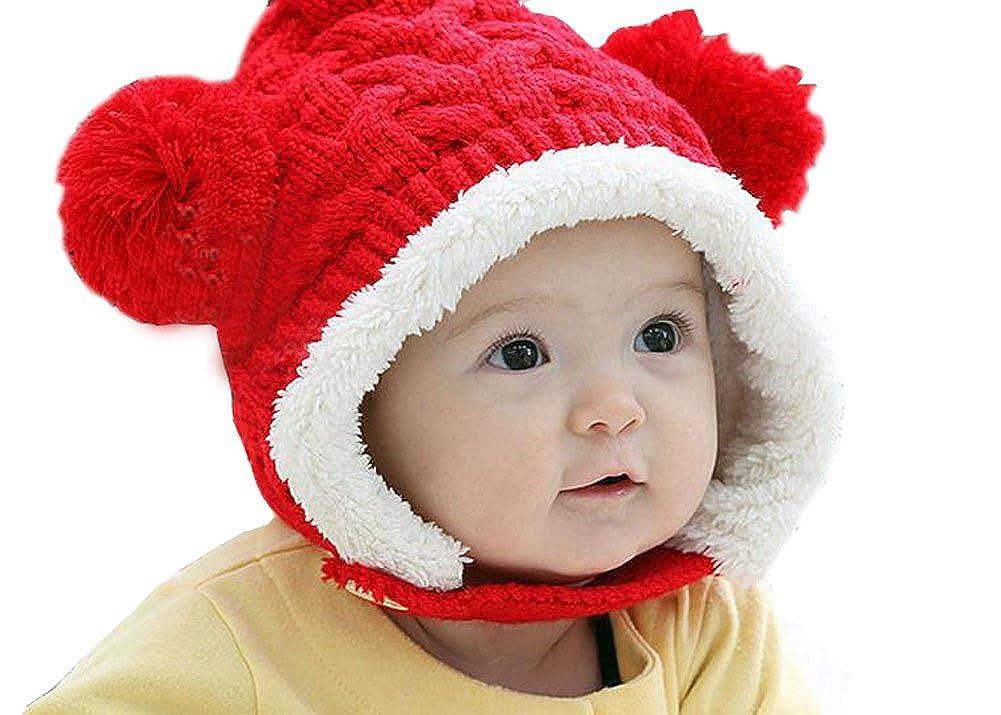 Demarkt Chouette Chapeau pour Enfant Bonnet Automne Hiver Oreille-Protè ge en Tricotage 6-48 Mois Tour de Tê te 44-53CM Rouge ZHJ1179//FR2