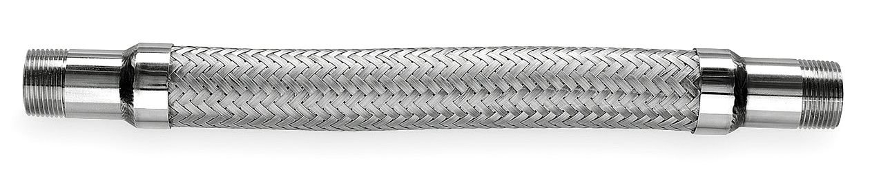Hose Master Annuflex Stainless Steel 316 Flexible Hose Assembly, 2'' Stainless Steel 316 NPT Male Connection, 449 PSI Maximum Pressure, 24'' Length, 2'' ID by Hosemaster (Image #1)