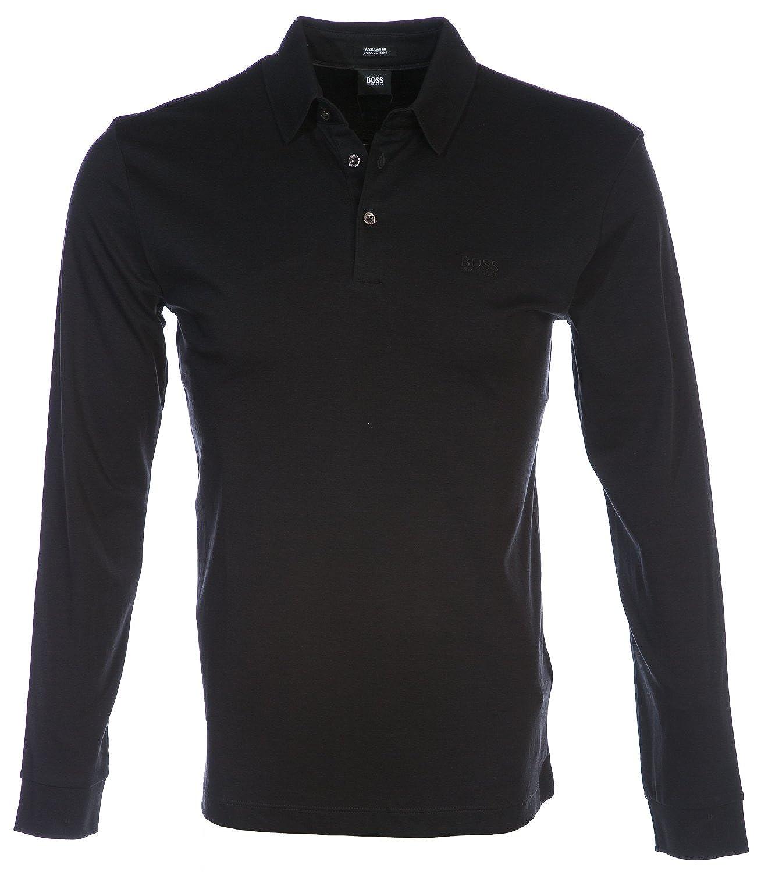 c9240f1df BOSS Hugo Boss Long Sleeve Phillian Polo Shirt L Black: Amazon.co.uk:  Clothing