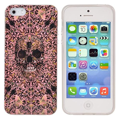 Motif Protection TPU Skull Head Case Cover pour iPhone 5 5S