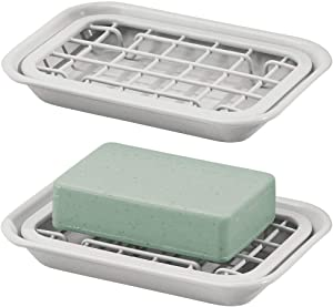 mDesign Metal 2-Piece Soap Dish Tray with Drainage Grid and Holder for Kitchen Sink Countertops to Store Soap, Sponges, Scrubbers - Rust Resistant - 2 Pack - Light Gray