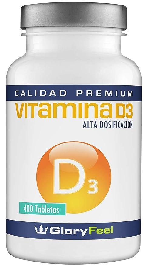 Vitamina D 8100 IU 400 comprimidos - Vitamina D3 vegana - 8.100 IU / 200 µg de Vitamina d concentrada por pastilla 100% Natural y pura – Calidad ...