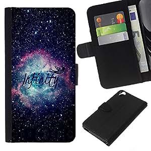KLONGSHOP // Tirón de la caja Cartera de cuero con ranuras para tarjetas - Universo Cosmos texto Awe Inspiring - HTC Desire 820 //
