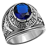 Air Force: Mens 5.0ct Simulated Sapphire USA Air Force Military Signet Ring 316 Steel, 3063 sz 13.0