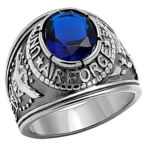 Air Force: Mens 5.0ct Simulated Sapphire USA Air Force Military Signet Ring 316 Steel, 3063 sz 12.0
