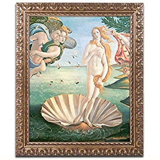 Trademark Fine Art Birth of Venus 1484 Artwork by Sandro Botticelli, 16 by 20-Inch, Gold Ornate Frame