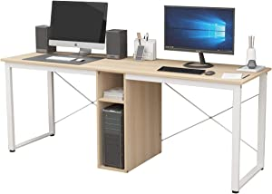sogesfurniture 78 inches Large Double Workstation Dual Desk Home Office Desk 2-Person Computer Desk Computer desks with Storage, Maple& BHUS-LD-H01-MO