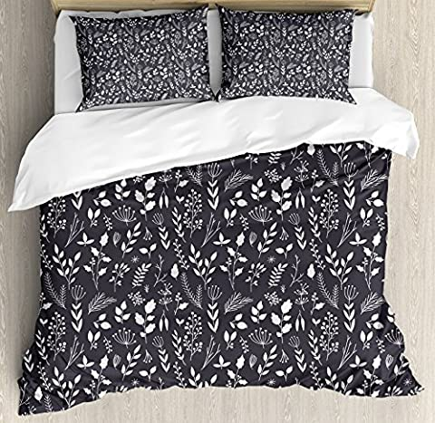 Black and White Duvet Cover Set by Ambesonne, Wildflowers Bedding Plants Gardening Theme Cottage Decor Botanical Meadow, 3 Piece Bedding Set with Pillow Shams, Queen / Full, Black - Cottage Flower Bedding