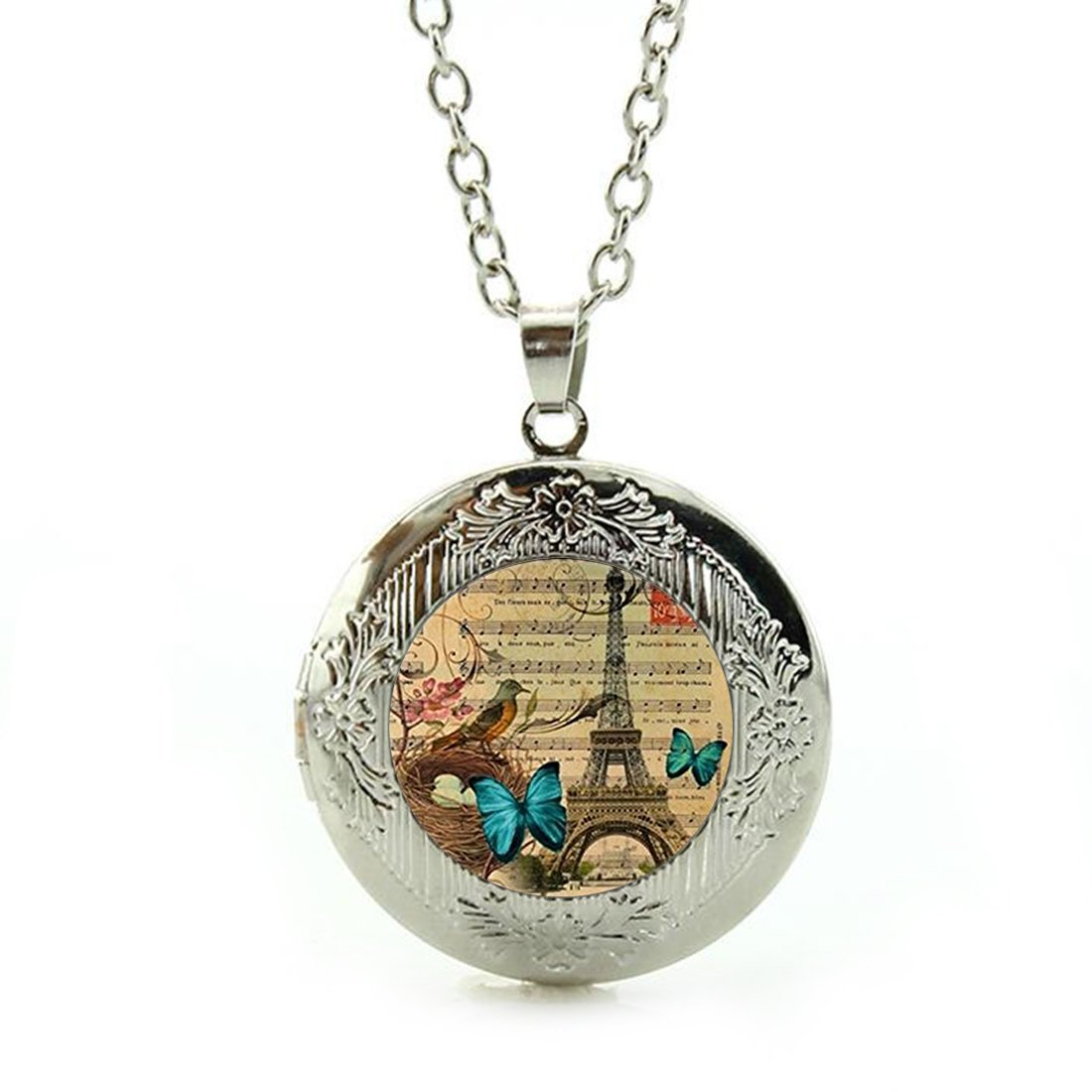 Women's Custom Locket Closure Pendant Necklace Vintage Butterfly Paris Eiffel Included Free Silver Chain, Best Gift Set