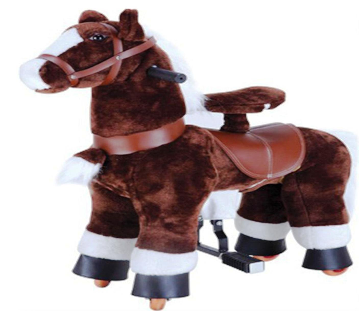 Chocolate Brown SMALL Trotting Action Horse Pony Ages 2-5 Boys & Girl Ride on Cycle Giddy Up Cowboy! by TODDLER TOYS