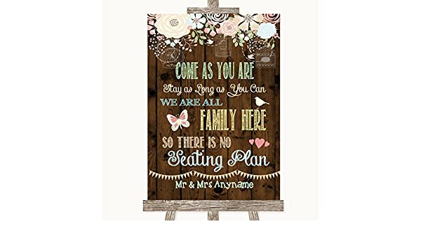 Cartel rústico floral de madera para boda colección rústico ...