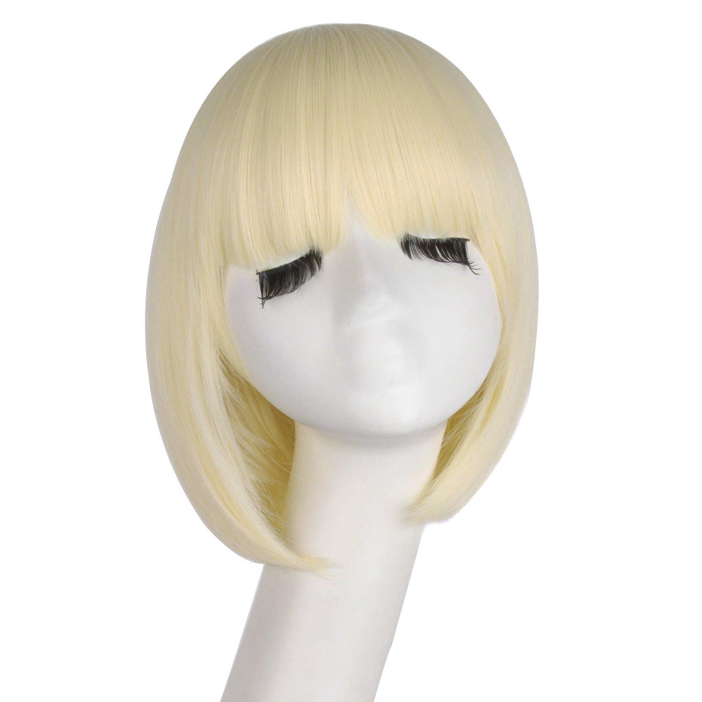 MapofBeauty 12''/30cm Fashion Women Flat Bangs Short Synthetic Straight Bob Cosplay Wig (Light Blonde) by MapofBeauty