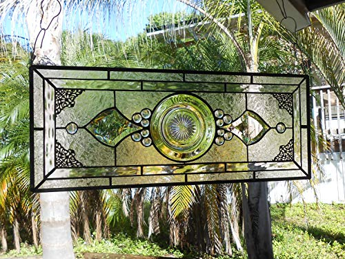 Vintage Window Transom, Heisey Revere Depression Glass Stained Glass Plate Panel, Stained Glass Window Valance, Handmade Home Decor