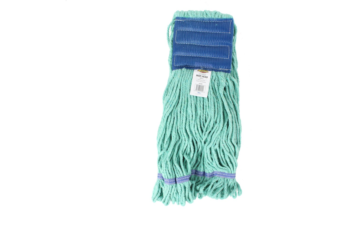 Bristles Wet Mop Head Loop End Replacement, 5 Inch Wide Headband, 4 Ply Cotton Synthetic Yarn, Pack of 12 (Medium, Green)