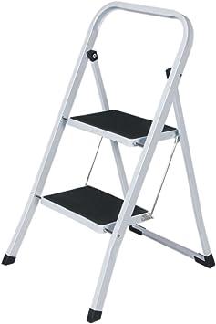 Escalera plegable de 2 peldaños antideslizante con escalera de seguridad de acero HOME HUT®: Amazon.es: Bricolaje y herramientas