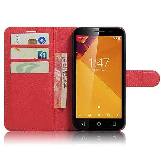 Manyip Funda Vodafone Smart Turbo 7 VFD500, Caja del teléfono del Cuero,Protector de Pantalla de Slim Case Estilo Billetera con Ranuras para Tarjetas, ...
