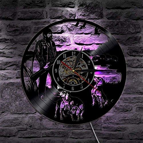 1 Piece Hunting Dog Silhouette Backlight LED Animal Vinyl Modern Decorative Wall Clock Home Hunter Gun Shoot
