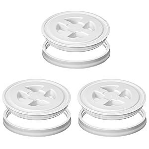 QWORK 3 Packs 5 Gallon Seal Lid for Plastic Bucket, White