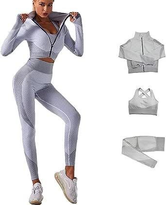 Veriliss 3 Piezas Mujer Yoga Traje Entrenamiento Para, Gym Mallas de Yoga Sin Costuras y Sujetador Deportivo Elástico Ropa de Gimnasio