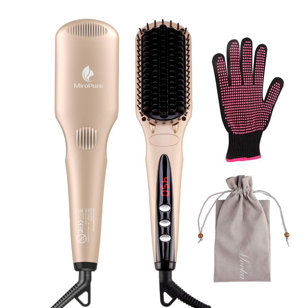 MiroPure Ionic Hair Straightener Brush for Silky Frizz-free Hair with MCH Heating Technology for Great Styling at Home