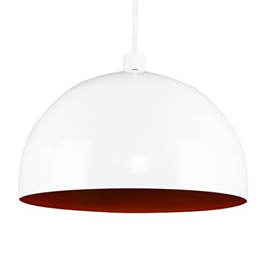 Modern Gloss White Orange Metal Dome Ceiling Pendant Light Shade