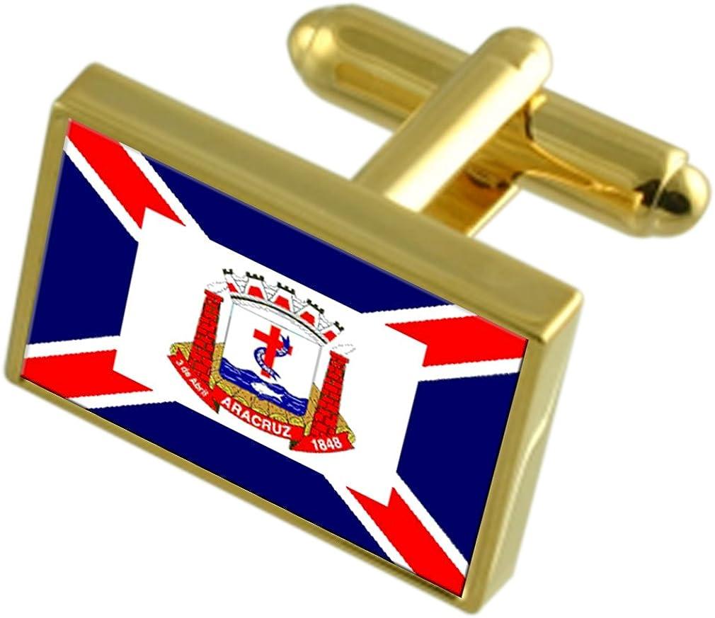 Aracruz City Espirito Santo State Gold-tone Flag Cufflinks Engraved Box