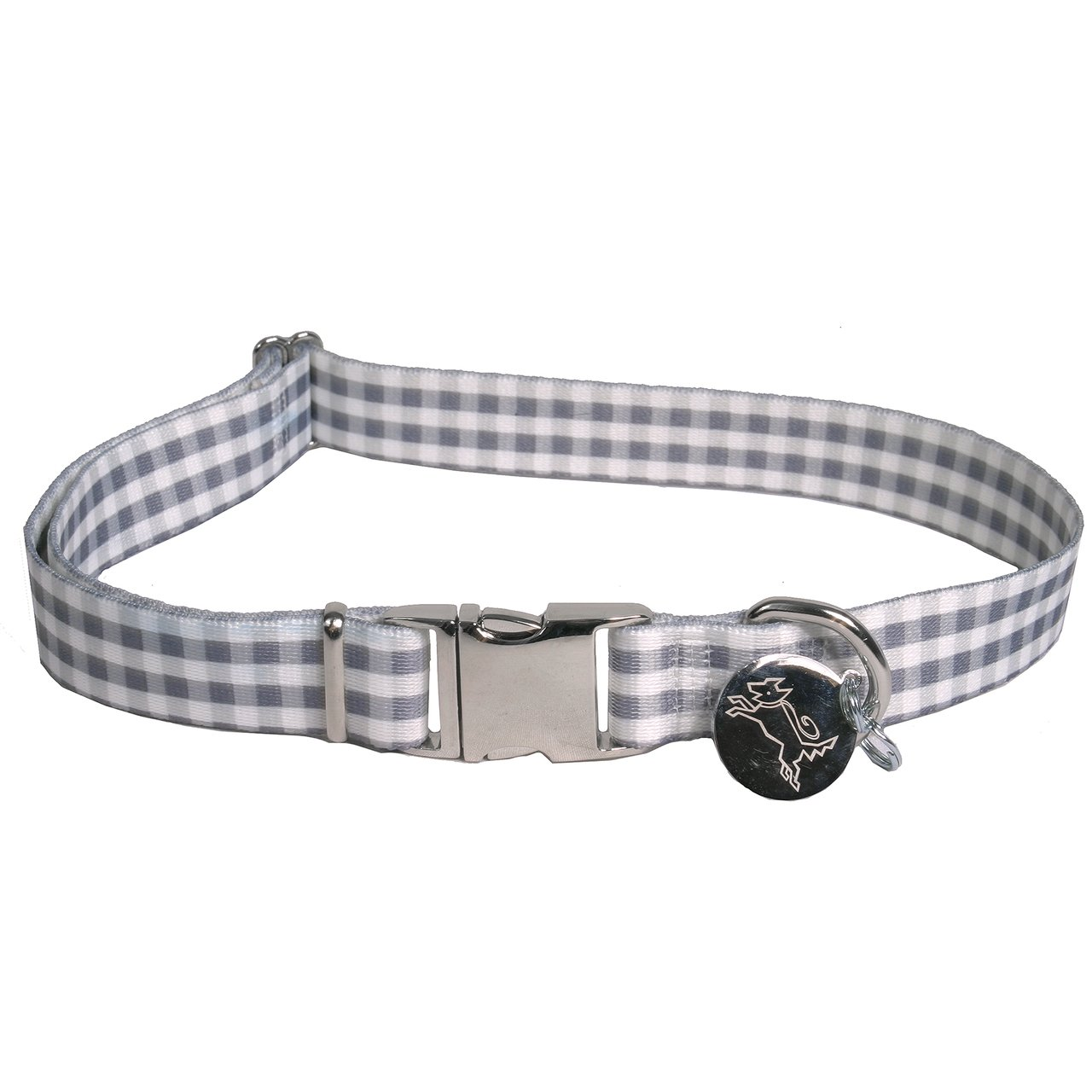 Southern Dawg Gingham Gray Dog Collar -Medium-3/4'' Neck 14 to 20'' Made in the USA by Yellow Dog Design