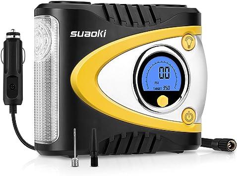 Suaoki B24A - Compresor de Aire Portátil Digital con Luz LED (12V DC, 100 PSI, Codificador Avanzado, Programación de Alta Precisión, Para Neumáticos, Objetos Inflables): Amazon.es: Coche y moto