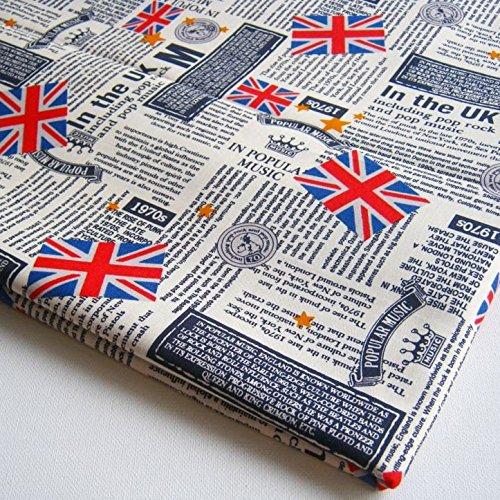 UK Fabric London Attraction Oxford Street Britain United Kingdom Union Jack Fabric Big Ben, London, Underground on Cream 36 by 36-Inch Wide (1 Yard) (CT283)