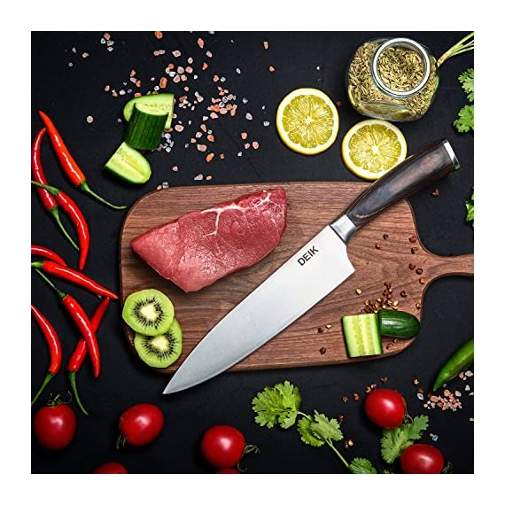 Deik Chef Knife, High Carbon Stainless Steel Kitchen Knife, Super Sharp Chef's Knife with Wood Handle, 8 Inch Cooking Knife for Professional Use 5 Stainless steel blade with high carbon: The DEIK professional 8 inch chef knife is manufactured from high-quality stainless steel that maintains its functionality for a long time. And to boost its sturdiness, the steel contains 0.6%-0.75% carbon, making it two times as hard as other knives in its class as they contain just 0.3% carbon. Multi-functional knife: The sharp kitchen knife is designed to be multipurpose knife for professional applications, suitable for for cutting, dicing, slicing, chopping and also removing flesh off bones. It comes with a HRC( Rockwell Hardness Scale) of 58-60 which makes it among the tough knives in its class. Ergonomic pakka handle: The weight and the size of this chef knife feels quite balanced and you won't feel finger numbness because of it's ergonomic handle. Pakka original wood handle makes this kitchen knife more luxury.