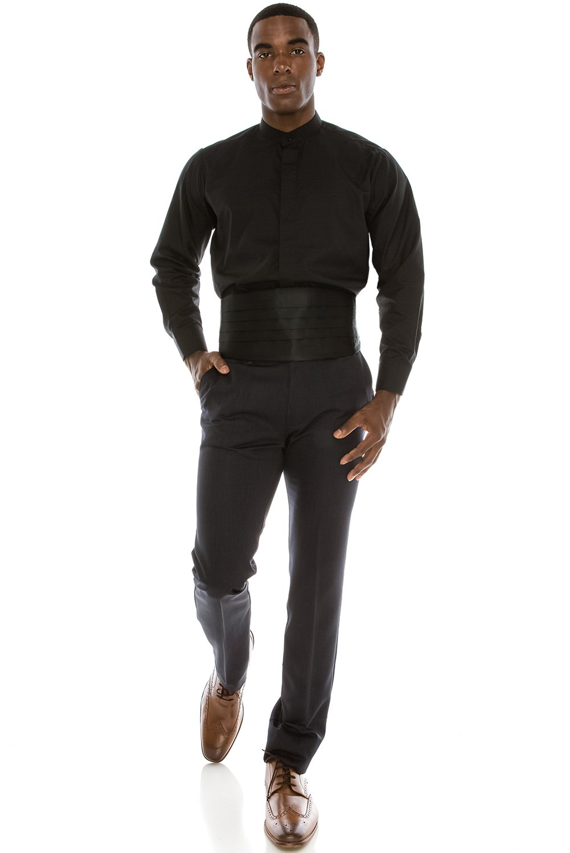 JC DISTRO Black Mandarin Collar Formal Dress Shirt Non-Pleat Tuxedo Shirt (XL), 17-17.5N-34/35S by JC DISTRO