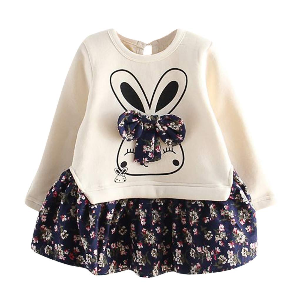 Longra® Clearance Baby Dress,Toddler Kids Baby Girl Cartoon Rabbit Bunny Floral Princess Party Dress Clothes for 2-6 Years