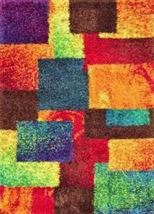 Amazon.com: Area Rug 3x5 Rectangle Shag Multi Color ...