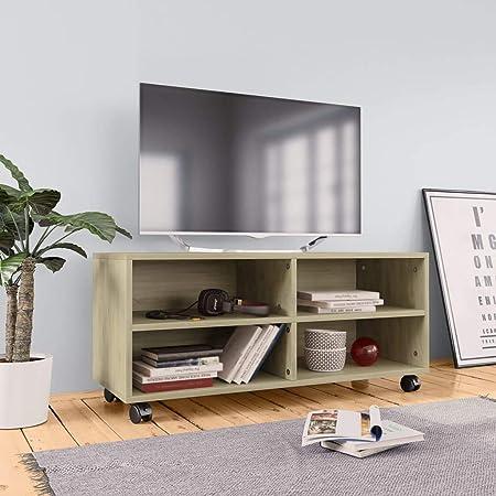 UnfadeMemory Mueble para TV Moderno con Ruedas,Mesa para TV,Mueble de hogar,con 4 Compartimentos Abiertos,Madera Aglomerada,90x35x35cm (Roble Sonoma): Amazon.es: Hogar