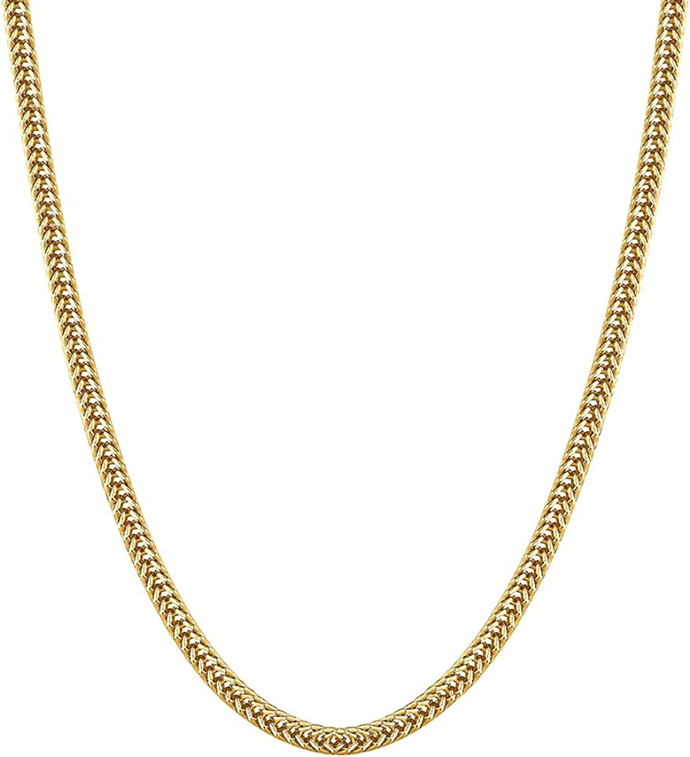 KRKC/&CO 3mm 14k Gold Franco Chain Solid Resists Tarnishing Chain Necklace Size 20 22 24 Inches Durable Urban Streetwear Hip Hop Jewelry for Men /& Women