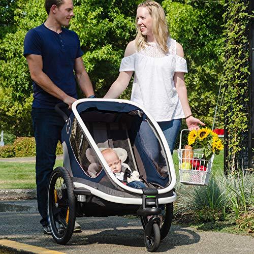 61agfTsiWdL - Hamax Outback Reclining Multi-Sport Child Bike Trailer + Stroller - 2020 Model (Jogger Wheel Sold Separately) (Navy/White, One Seat)