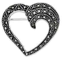 IceCarats 925 Sterling Silver Marcasite Heart Pin