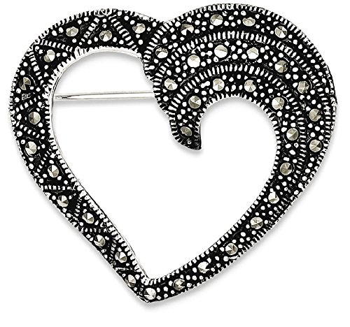 ing Silver Marcasite Heart Pin Fine Jewelry Gift Valentine Day Set For Women Heart (Heart Marcasite Set)