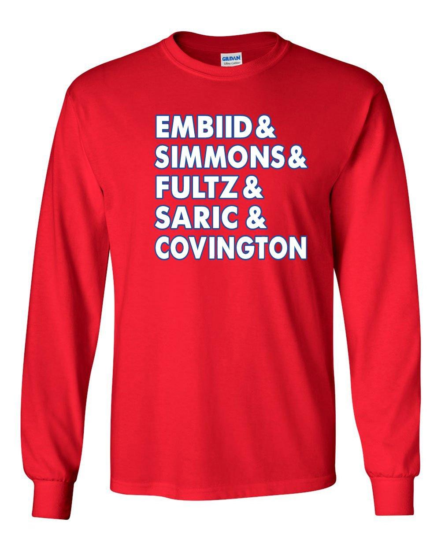 Red Philadelphia Trust The Process Embiid Simmons Fultz Tshirt