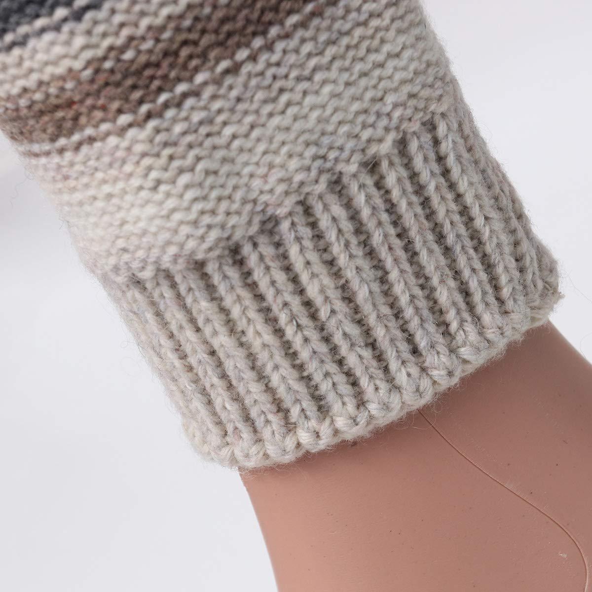 BESTOYARD Calentadores para Las piernas Rayas de Invierno oto/ñal a Juego Lana Tejida Calcetines Calientes Mangas Botas Leggings