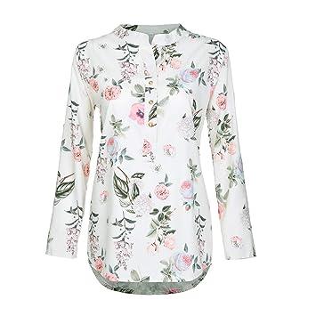 Stand Collar Women s Chiffon Tops Long Sleeve Blouse Printed Button Down  Shirt Long Sleeves Plus Size e63b12f49