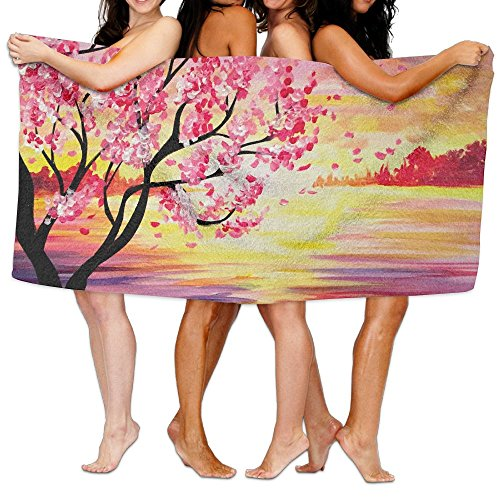 KAYERDELLE Unisex Sunset Cherry Blossom Beach Towels Washcloths Bath Towels For Teen Girls Adults Travel Towel Pool And Gym Use 31x51 ()