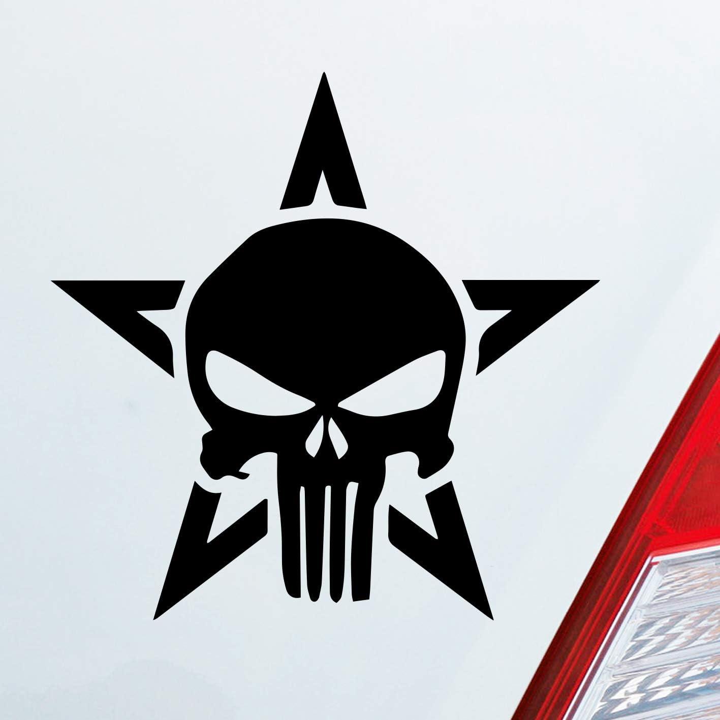 Auto Aufkleber In Deiner Wunschfarbe The Punisher Skull Stern Marvel Comic 10x10cm Autoaufkleber Sticker Folie Auto