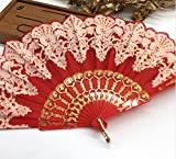 Red Plastic Hand Fan Sequins Rose Flower Embroidered Dancing Party Fan Wedding Favors Decoracion Fiestas