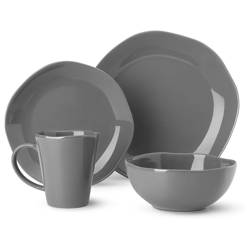Dishes Dinnerware Set Irregular Glaze Dishware Set,Tableware Set One Set Service for One Person,grey