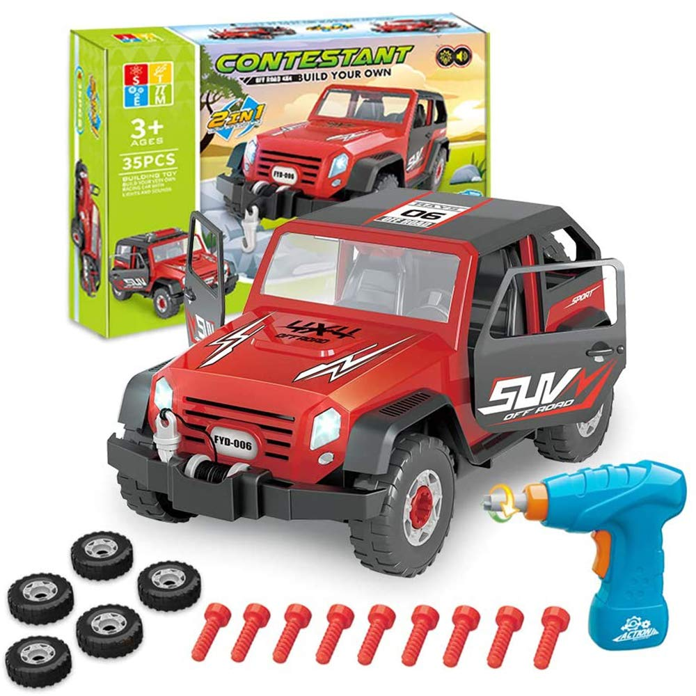 Enllonish Take Apart Toy Car Off Road Vehicle, Construction Toys Kit with Realistic Sounds & Lights for 3 year olds Boys & 4 year old Boy Gifts