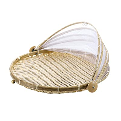 Hand Woven Bug Proof Basket Mosquito Proof Basket Dustproof Picnic Fruit Basket Handmade Fruit Vegetable Bread Cover Basket Bamboo Wicker Basket Picnic Fruit Tray Food Bread Dishes w/Gauze Cover (1#): Home & Kitchen