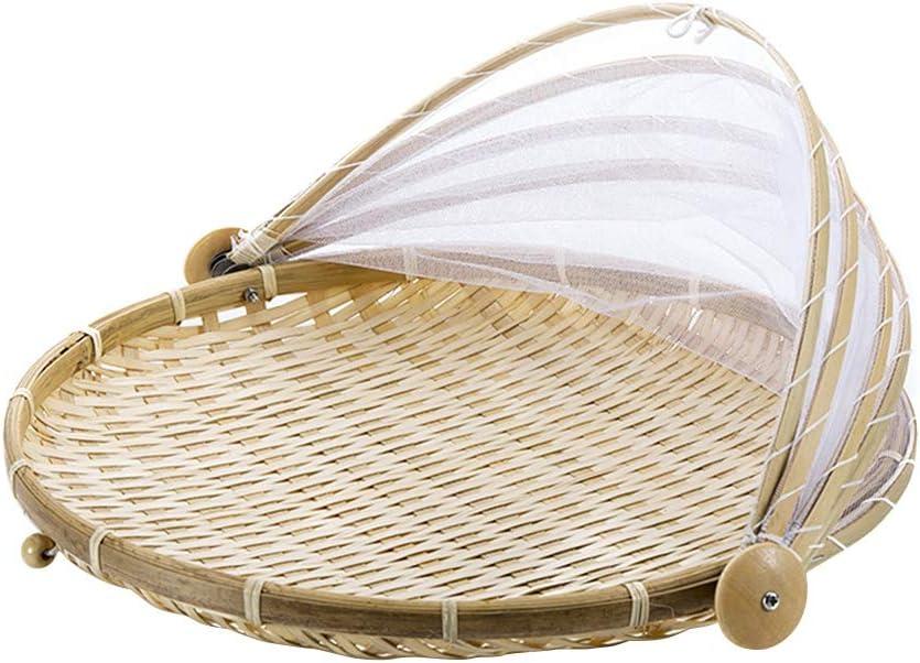 Nrpfell 1Pc Hand Woven Bug Proof Basket Dustproof Picnic Basket Handmade Fruit Vegetable Bread Cover Wicker Basket With Gauze