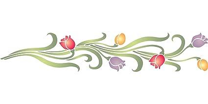 Diseño de tulipanes - (tamaño 30,5 x 6,5 cm) reutilizable de pared plantillas para pintar ...